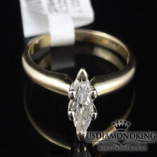 Real 14k Yellow Gold .28 CT Marquise Cut Diamond Solitaire Engagement Ring Band