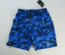"NWT Nike Men's 9"" Volley Logo Blue Camo Swim Shorts Trunks Suit M L XL NEW $58"