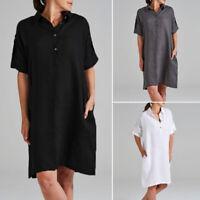 ZANZEA Womens Cotton Short Sleeve Mini Shirt Dress Ladies Casual Colllared Tunic