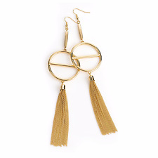 LONG EARRINGS DROP DANGLING gold tassel chandalier hoop earrings boho 30840