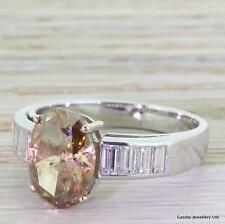 4.05ct NATURAL FANCY COGNAC OVAL CUT DIAMOND SOLITAIRE ENGAGEMENT RING -18k Gold