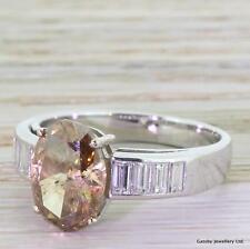 4.05ct NATURAL FANCY COGNAC OVAL CUT DIAMOND SOLITAIRE ENGAGEMENT RING -18k Gold