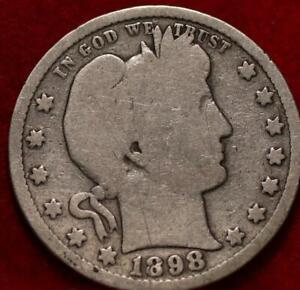 1898-S San Francisco Mint Silver Barber Quarter