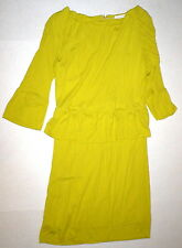 New Womens Patrizia Pepe 1 Small S Italy Dress Designer Yellow Peplum Dark NWT