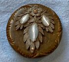 Very ornate antique sewing button ART NOUVEAU mixed media insets METAL FLORAL