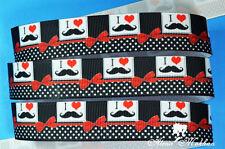 "5 yards 7/8"" Mustache Polka Dot Black Printed Grosgrain Ribbon"