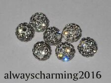 8MM ROUND RHINESTONE CRYSTAL 7 BEADS FOR SPARKLE NECKLACE, EARRINGS BRACELET