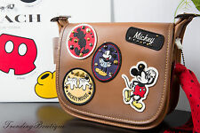 New Disney X Coach Patricia Saddle 23 Glove Calf Leather Mickey Patches F59373