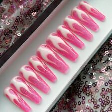 Hand Painted False Nails Pink Glitter Flame Long Tapered Coffin Press On Nails