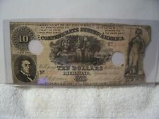 Authentic Confederate $10 Note Currency 1861 A Rarity 4