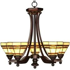 HAMPTON BAY 5-Light Oil Rubbed Bronze Chandelier w/Tiffany Style Stained Glass