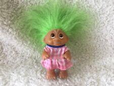 "Vintage DAM 3.5"" TROLL. Green Hair.  Pink plaid dress"