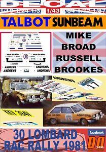 DECAL TALBOT SUNBEAM LOTUS RUSSELL BROOKES RAC RALLY 1981 DnF (06)