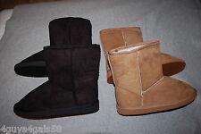 Womens Boots 2 PAIR LOT Faux Sheepskin WHEAT BROWN & BLACK Casual FAUX FUR Sz 6
