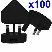 100 x 100% CE USB UK AC WALL PLUG CHARGER ADAPTER FOR iPhone iPod Samsung HTC