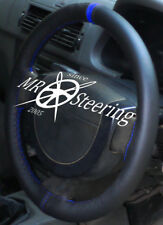 FITS CITROEN C1 2005-2013 BLACK LEATHER STEERING WHEEL COVER + ROYAL BLUE STRAP