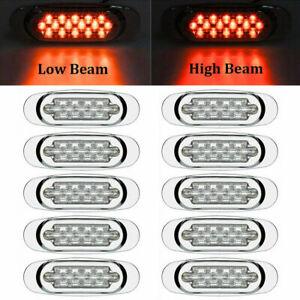 """10x 16 LED 6.5"""" LED Side Marker Turn Signal Light For Peterbilt Mack Chrome Red"""