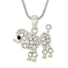 "Poodle W Swarovski Crystal Dog Puppy Pet Pendant Necklace Gift Jewelry 18"" Chain"