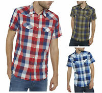 Wrangler New Mens Short Sleeve Cotton Check Shirt Regular Western Red Blue Green