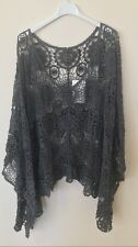 New Lagenlook Quirky Cotton CROCHET Poncho Oversized Layering Asymmetric Top CHA