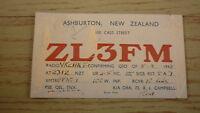 OLD HAM QSL RADIO CARD, 1948 ASHBURTON NEW ZEALAND, ZL3FM