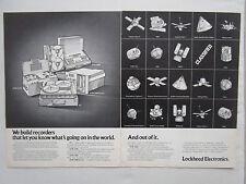 12/1973 PUB LOCKHEED ELECTRONICS ADVANCED RECORDERS SATELLITE ESPACE SPACE AD
