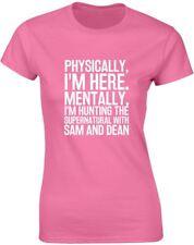 Hunting the Supernatural with Sam & Dean Slogan Printed Ladies T-Shirt Tee Women