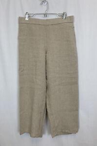 EILEEN FISHER Size Petite Small Khaki Beige Linen Wide Leg Cropped Pants EUC