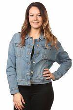 Ladies denim jackets casual wear Jean mix material flap pocket blue Second XS-L