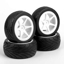 4Pcs 1/10 Scale RC Off-Road Buggy Car Front & Rear Tires and Wheels 6mm Offset
