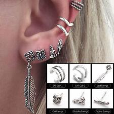 6Pcs Retro Leaf Owl Ear Stud Earrings Fashion Women Punk Jewelry Party Gift