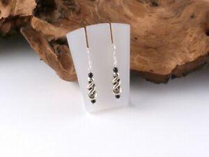 Ohrringe Ohrhänger Spirale gedreht versilbert 925 Silber Vintage NEU