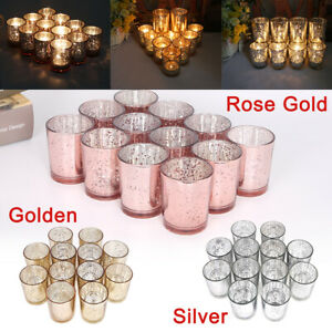 12/24pcs Glass Tea Light Candle Holder Cups Votive Wedding Xmas Party Home Decor