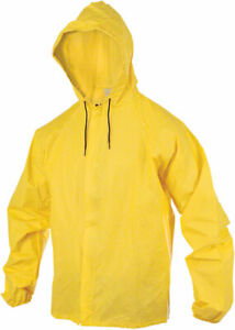 O2 Hooded Rain Jacket with Drop Tail: Yellow MD