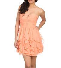 Arden B Coral Strapless Dress Chiffon Peach Coral Small