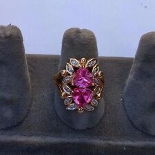 SHOWY CANADIAN STERLING SILVER VERMEIL PINK SAPPHIRE & DIAMOND RING.SIZE 9