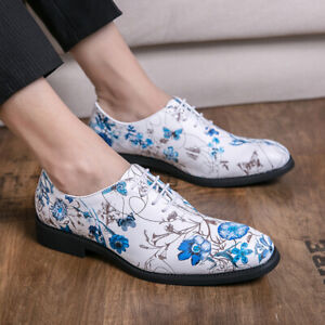 Men/'s Pointed Toes Floral Prinetd Business Dress Oxford Flats Slip On Chic Shoes