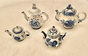 Lot of 4 Vintage USSR Russian Hand Painted Porcelain Gzhel Гжель Tea Pots