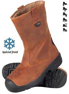 Botte de sécurité cuir fourrée S3, chaussure travail montante chantier X-PRO,