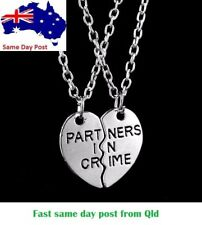 Silver Partners In Crime love heart Best Friend Friendship BFF Necklace 2 piece