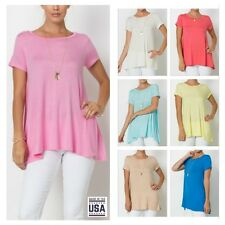 USA Women Casual Short Sleeve Round Neck A-Line T-Shirt Tunic Top  S M L