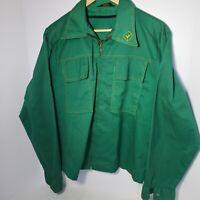 Vintage 70s Protexall John Deere Welder Service Work Man Jacket Green Zip Trendy