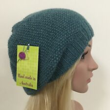HAND KNITTED LADIES SEA GREEN WOOL ALPACA SLOUCHY SEED PATTERNED BEANIE 9bc2344a86c9