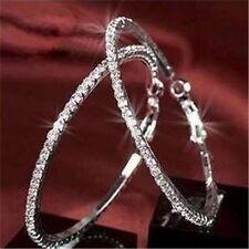 Funkelnde Silber Weiß Glitzer XXL Creolen mit viel Strass Ohrringe Neu 003