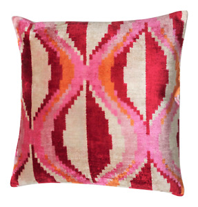 Calicomfy Handmade Luxury 100% Silk Velvet Decorative IKAT Design Pillow +insert
