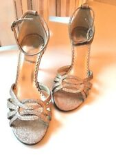 NEXT Gorgeous Ankle Strap Party Shoes Gold Sparkle UK size 4 ( 37 ) Used Once