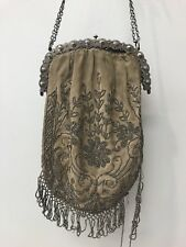 Antique French Steel Cut Bead Evening Bag with Metal Frame & Chain Handle As Is