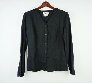 Flax Women's Black 100% Linen Button Front Long Sleeve shirt top SMALL lagenlook