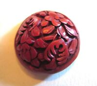 "Carved Red CINNABAR Button, Chinese, floral design, early 20th c. 1"" Medium."