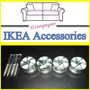 4 IKEA CAM LOCK WHEEL NUTS & 4 Cam Lock Screw for MALM / BRIMNES Bed 114670